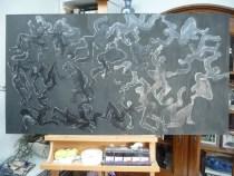 de figuraties zwarter ingkleurd met waskrijt en ecoline en afgewerkt met antiekwas.