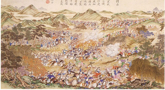 One of the battles between the Dzungars and the Qing Empire