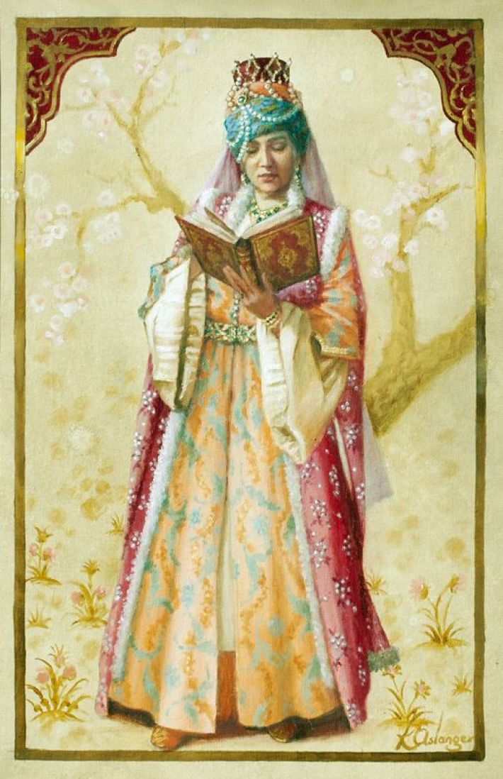 modest fashion - A Turkish lady wearing a multi-colored, traditional outfit