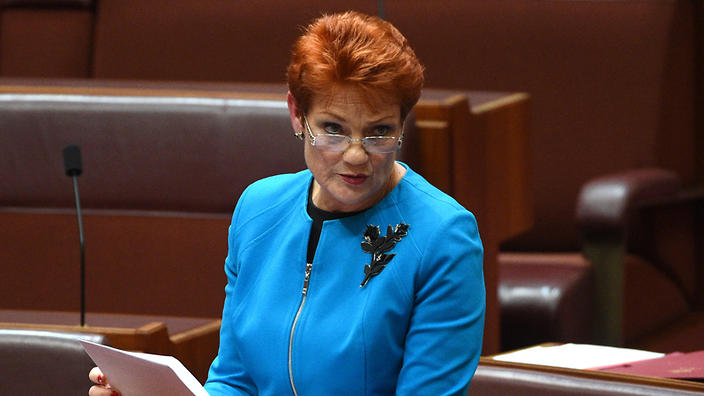 One Nation leader Senator Pauline Hanson makes her maiden speech in the Senate in Canberra, Wednesday, Sept. 14, 2016. (AAP Image/Mick Tsikas)