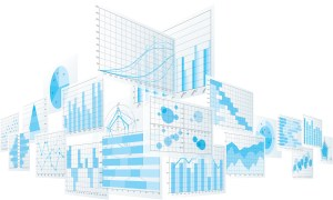 Depiction of many different analytical screens filled with different visual representations of data stacked at adjacent angles to one another.