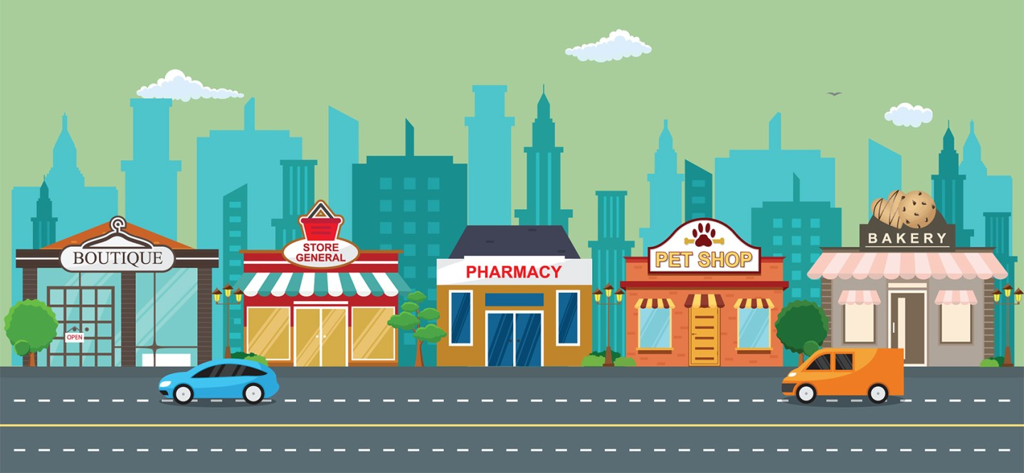 A colorful illustration of local businesses along main street.