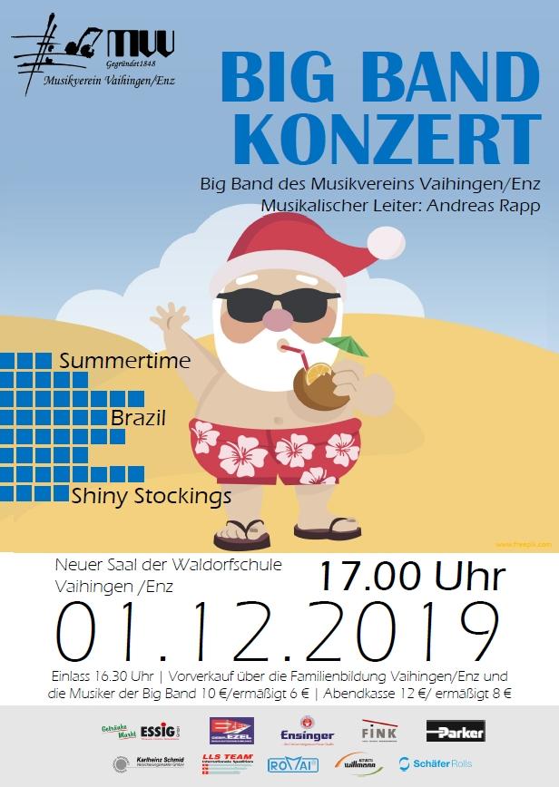 Plakat für das Big-Band-Konzert 2019.