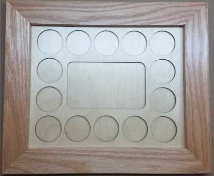 8x10 Poker Chip Display with Oak Frame Natural 3x5 Photo Cut Out