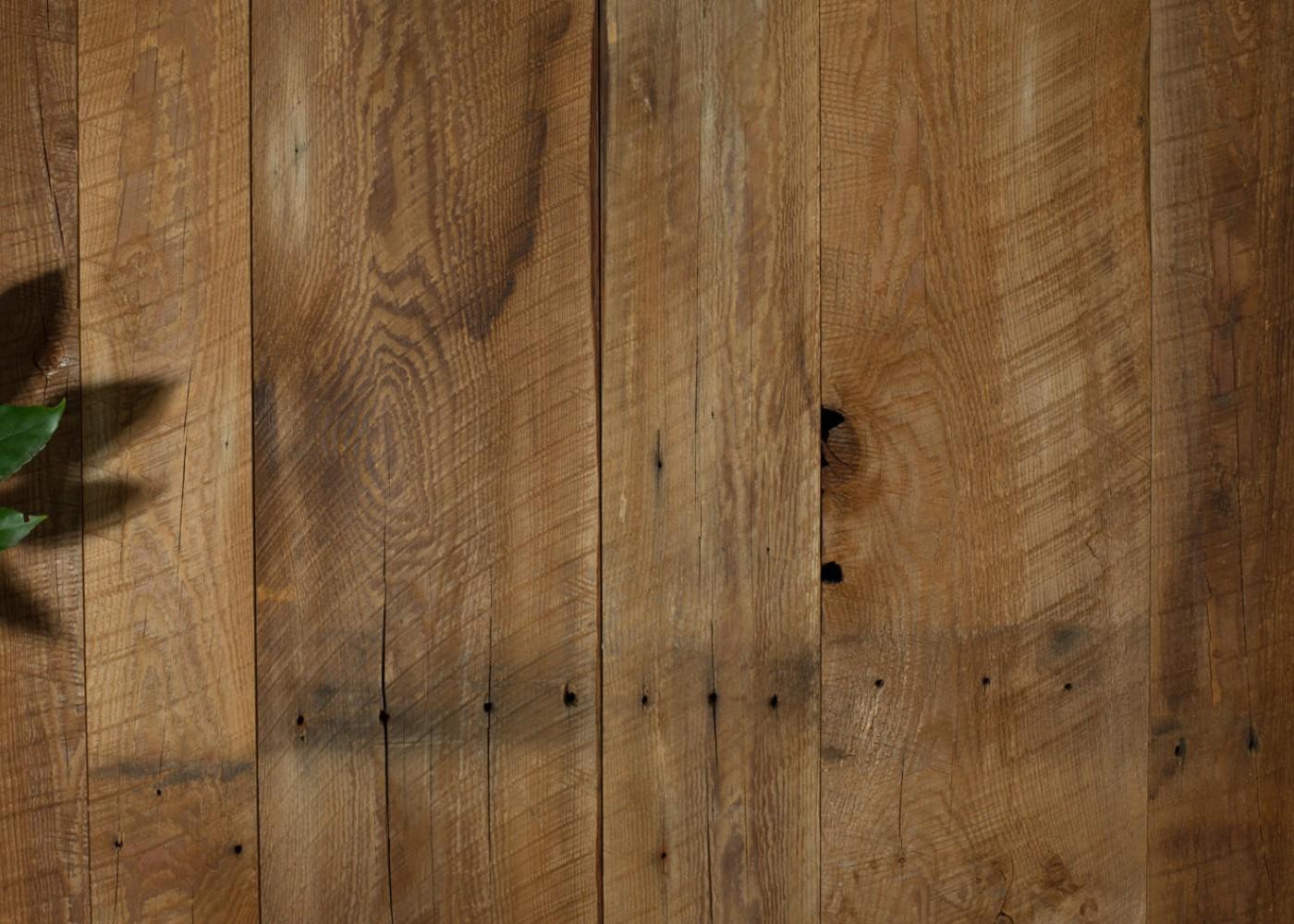 panneau 3 plis en vieux bois marron brosse brut