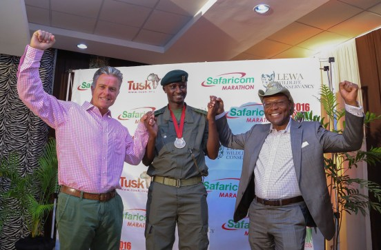 From left; Lewa Wildlife Conservancy CEO, Mike Watson, Lewa Marathon- Head of Anti Poaching, Edward Ndiritu and Safaricom Limited, Director Strategy & Innovation, Joe Ogutu.
