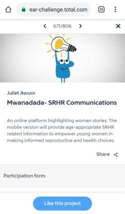 Total Startupper of the year challenge vote mwanadada