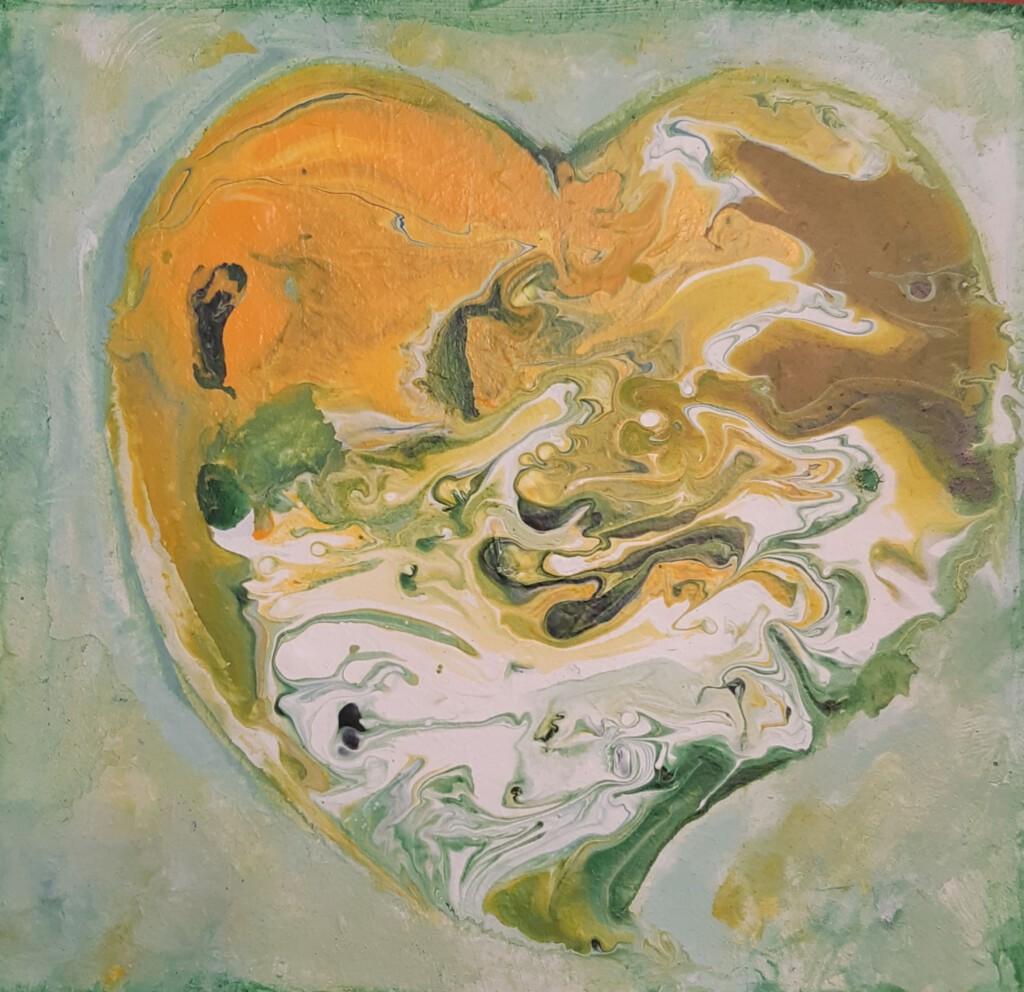 Groen hartje 1 - 15 x 15 cm  -  Van € 45 voor € 35