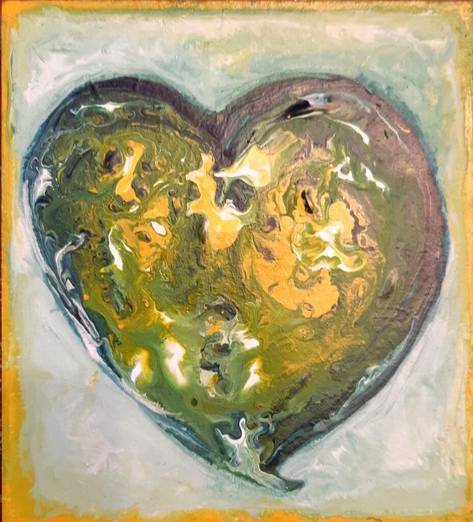 Groen hartje 3 - 15 x 15 cm  -  Van € 45 voor € 35