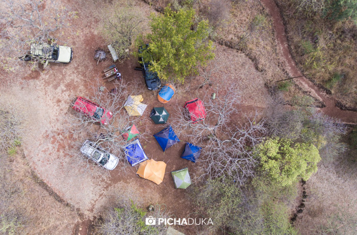 Tents pitched at Lake Chala Safari Lodge on 22nd August 2017.