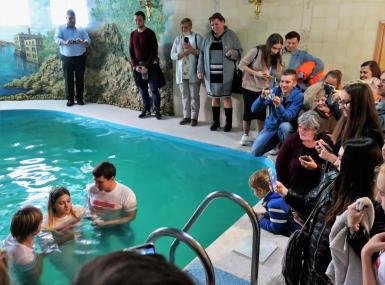 Seven women ages 16-22 were baptized at a nearby pool the day the European leaders visited. Photo: J. Nelson Kraybill