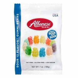 ALBANESE SUPER SOUR NEON GUMMI BEARS 7 OZ