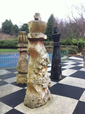 Now here's a dream: to play with a giant chess set, so elegantly carved.