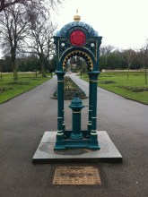 The drinking fountain was erected in 1878 by the Manchester Unity of Oddfellows. It is a memorial to William Hall, who was the oldest Oddfellow in the North of England when he died aged 75 in 1876.