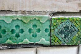 Tiles on the Cite Metro stop. Paris.