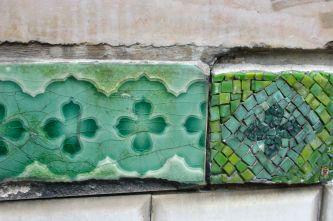 Tiles on the Cite Metro stop. Paris.