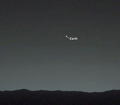Earth, as seen from Mars. Taken by Curiosity.