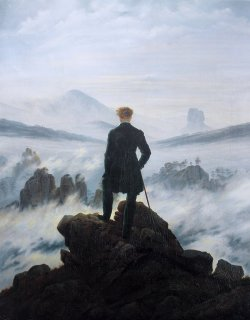 The Wanderer Above a Sea of Fog by Caspar David Friedrich. The image has often been noted as a representation of sublimity during the Romantic movement.