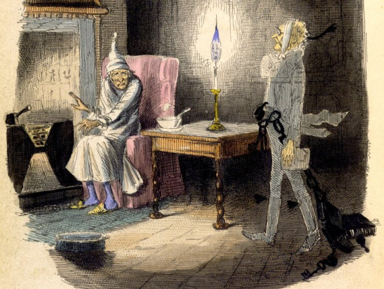 A Christmas Carol in prose. - caption: 'Marley's Ghost.  Ebenezer Scrooge visited by a ghost.'