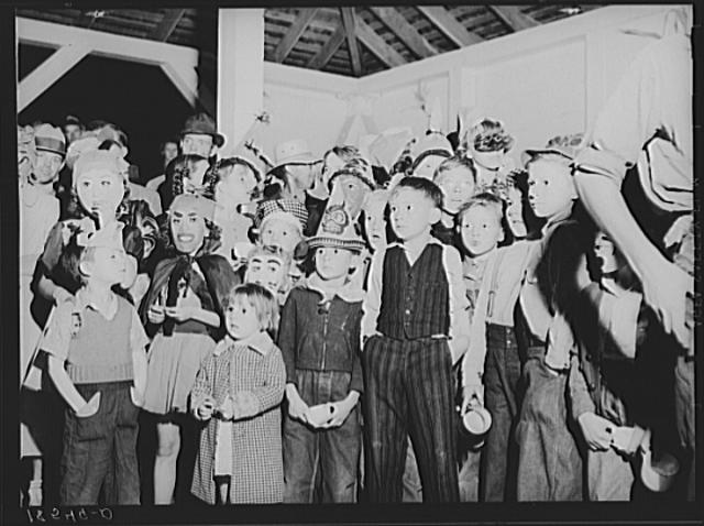 Halloween party at Shafter migrant camp, California. Dorothea Lange. 1938.