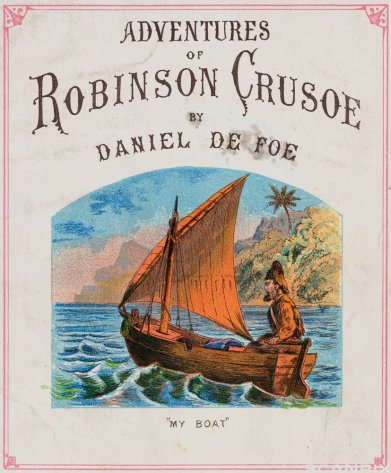 ca. 1900 --- Cover for Adventures of Robinson Crusoe --- Image by © Bettmann/CORBIS