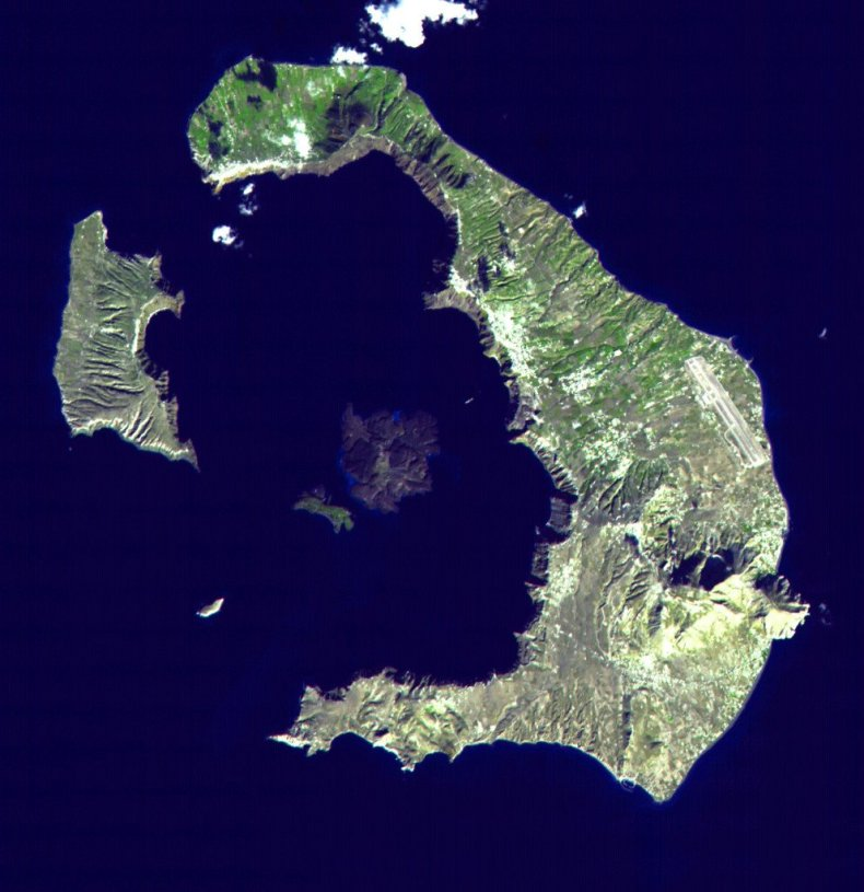 From above, the crater shape of the island is evident. The center island is the dormant volcano.