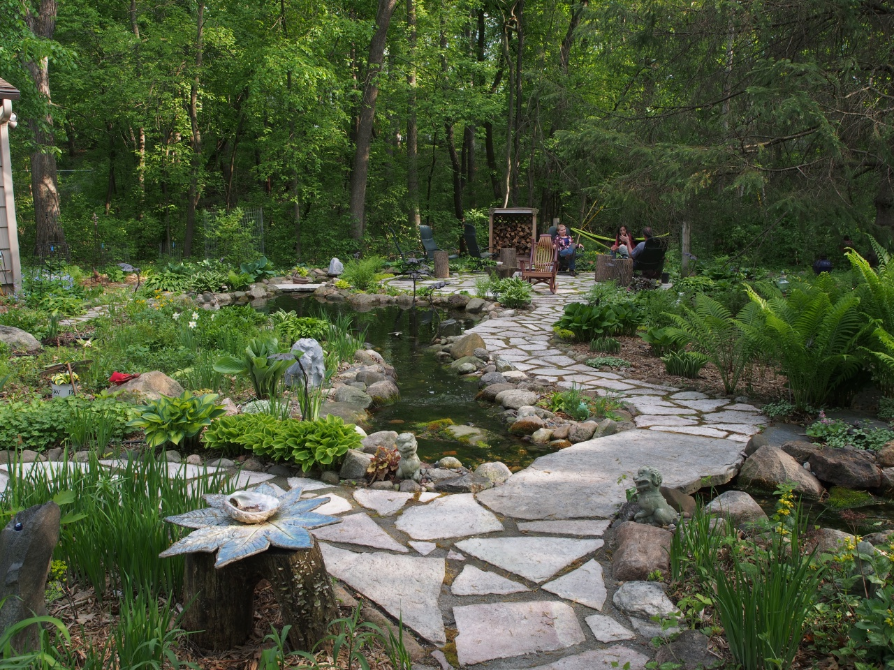 pond and firepit area