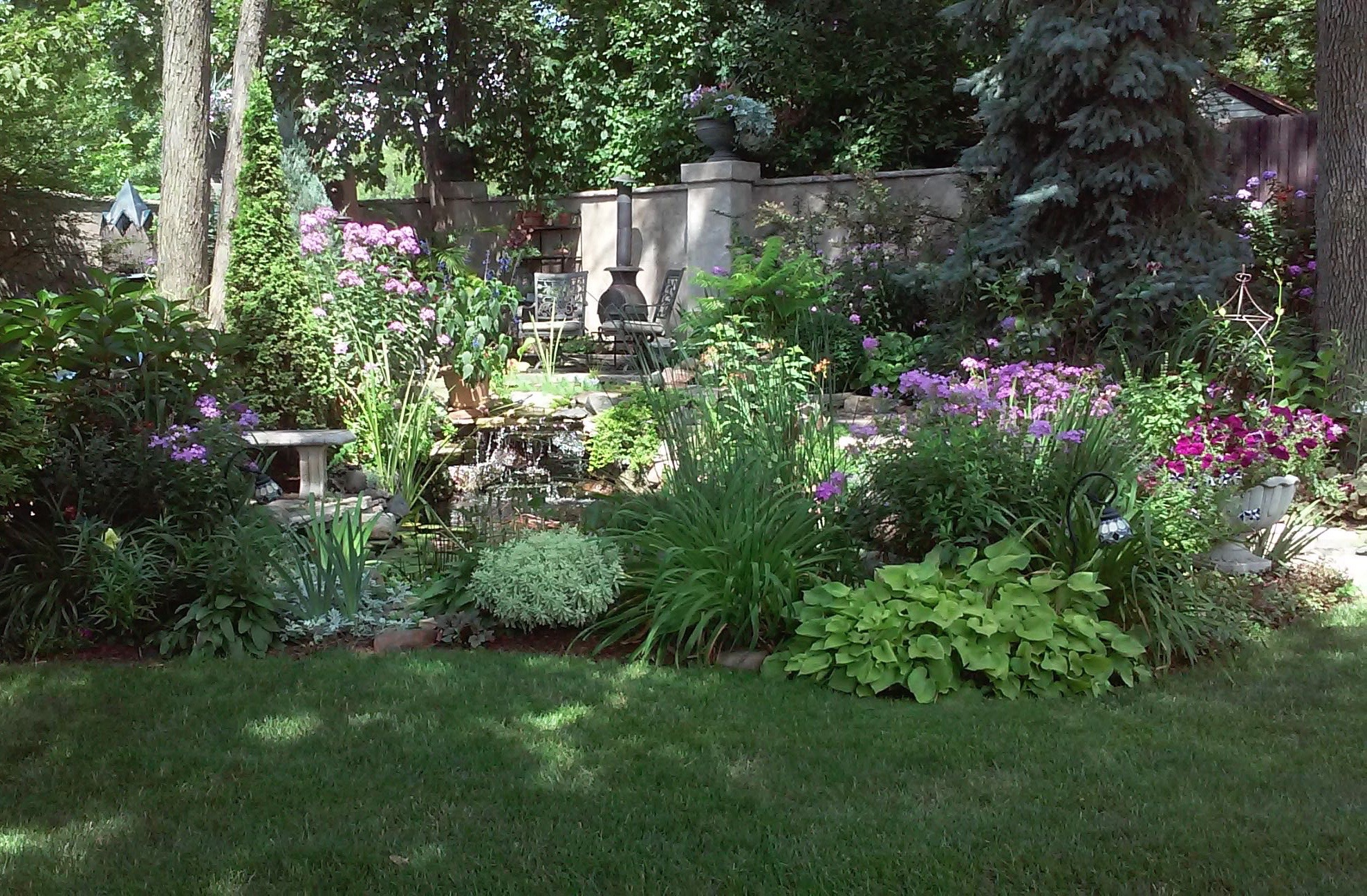 backyard garden and sitting area