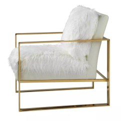 White And Gold Chair Leather Tub With Casters Furry Accent M Wilcox Design A