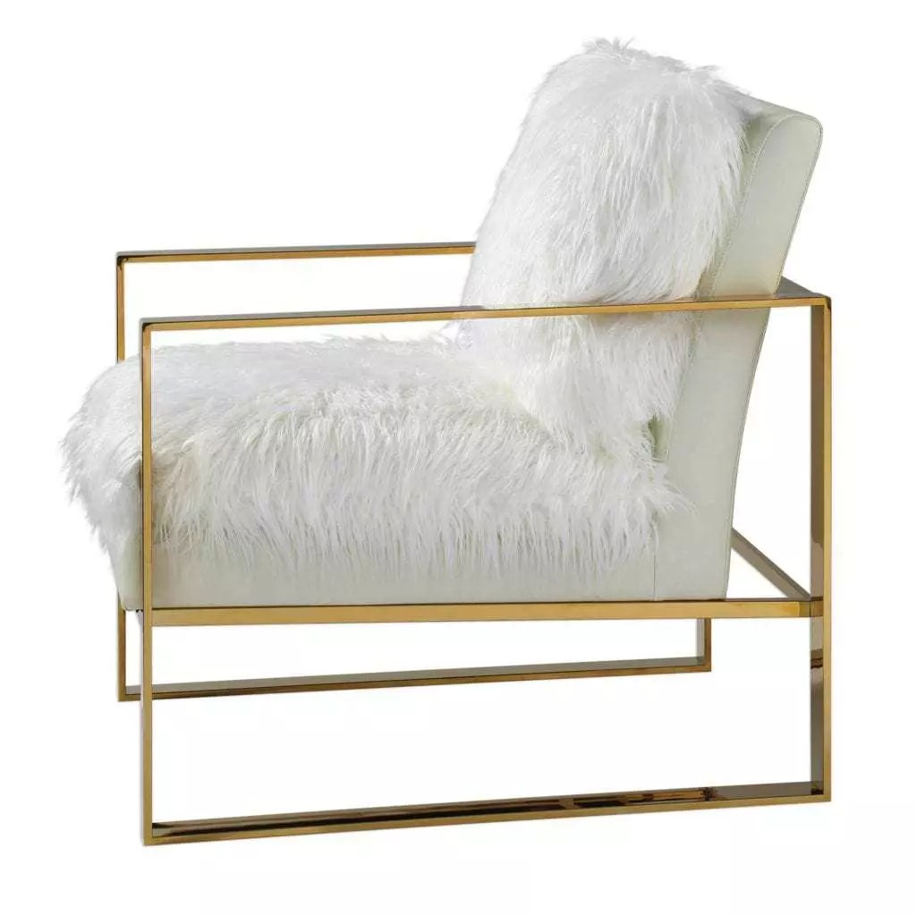 Furry Chairs White Gold Furry Accent Chair M Wilcox Design