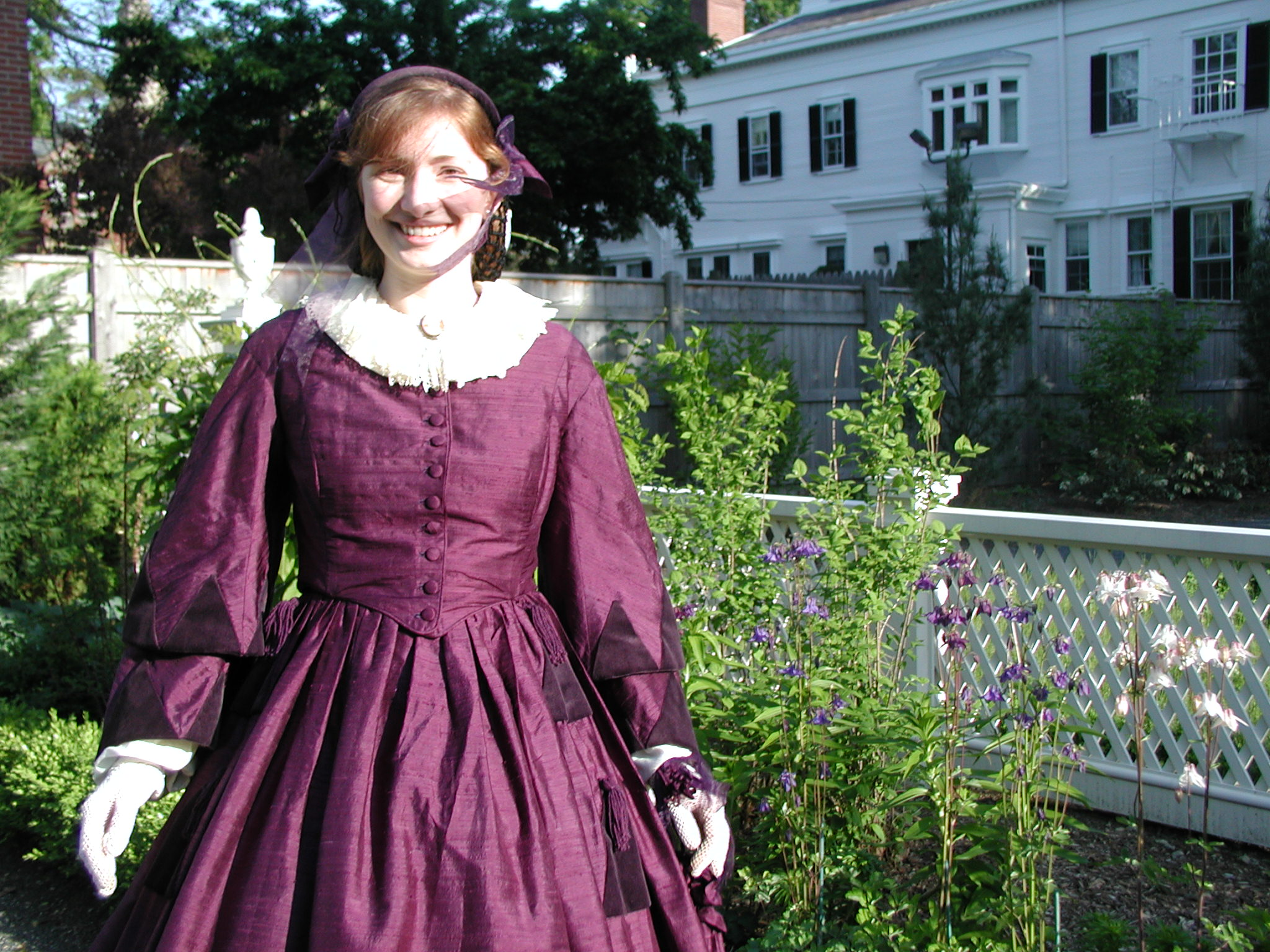 The Author as Fanny Longfellow, when working for Longfellow NHS, in the garden.