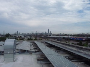 view from the CCGT roof, facing east toward the Chicago skyline