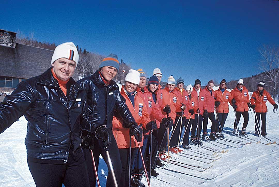Warren Pearson and The Balsams Wilderness ski instructors. Photo Credit: Neil Tillotson - 1967