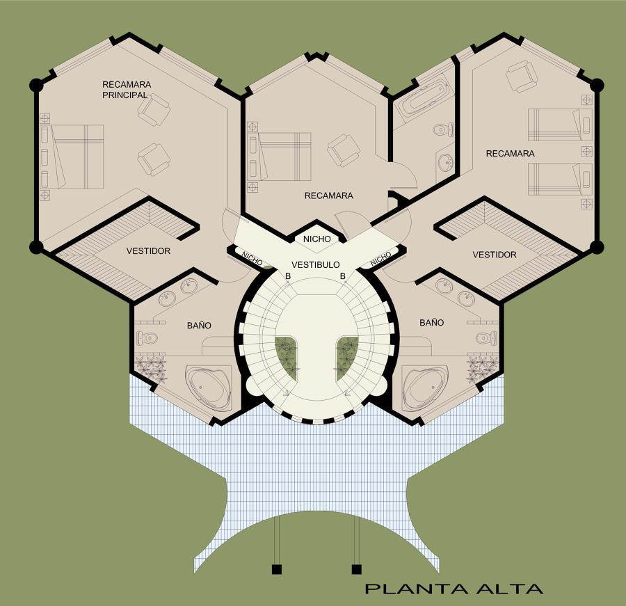 Foto Planta Alta de Casa Hexagonal de Casas de Elite