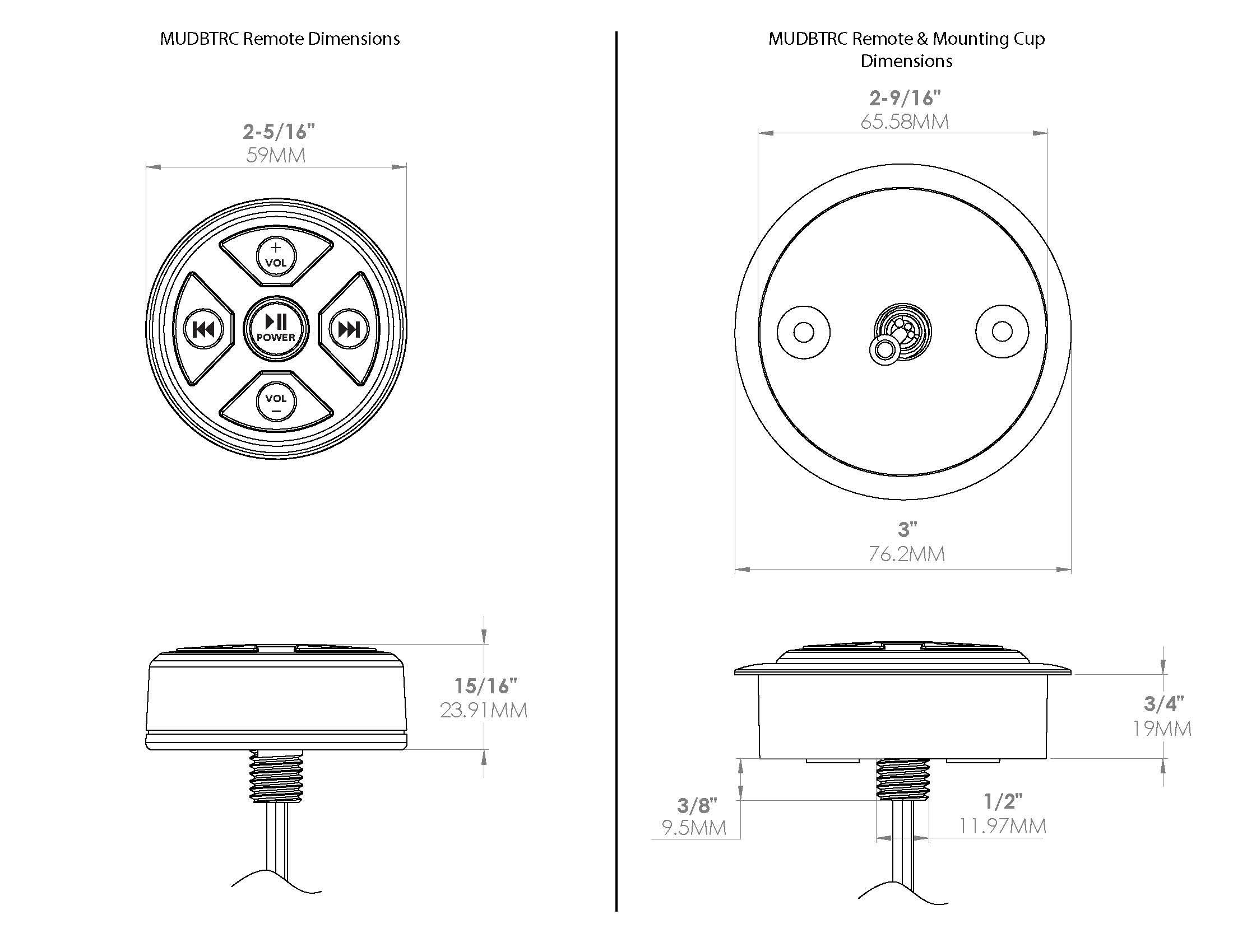 MUDBTRC Universal Bluetooth Receiver and Remote Control