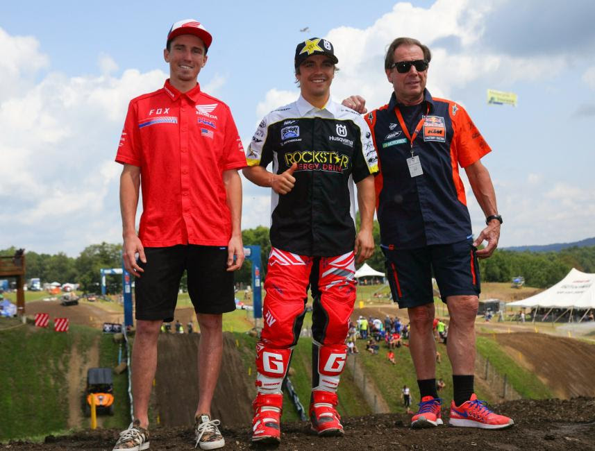 Cole Seely (left) and Zach Osborne (center) join U.S. Team Manager Roger DeCoster (right) for the announcement of the 2017 Motocross of Nations lineup.