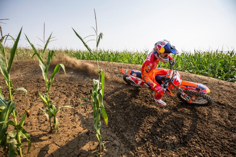 """Ryan Dungey navigates a corner in the middle of a cornfield during filming of """"Homegrown."""""""