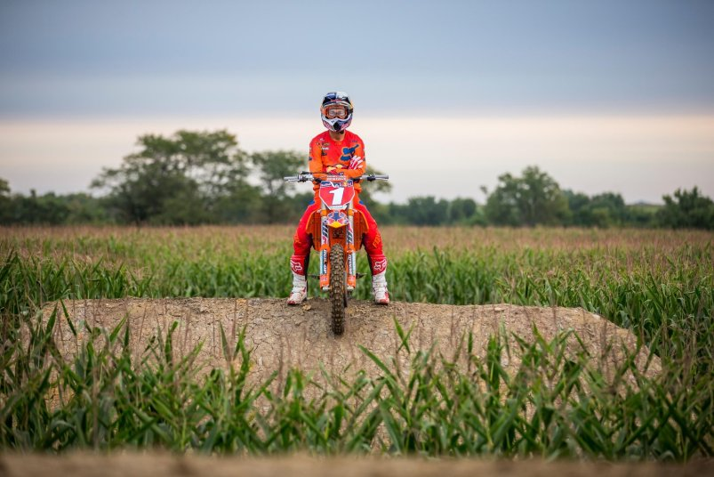 "Ryan Dungey sits atop a jump during filming of ""Homegrown."""