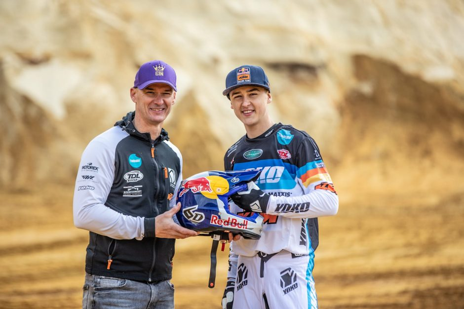 Stefan Everts and Liam Everts posing for a portrait with a Red Bull helmet in Gistoux, Belgium on March 20, 2021,
