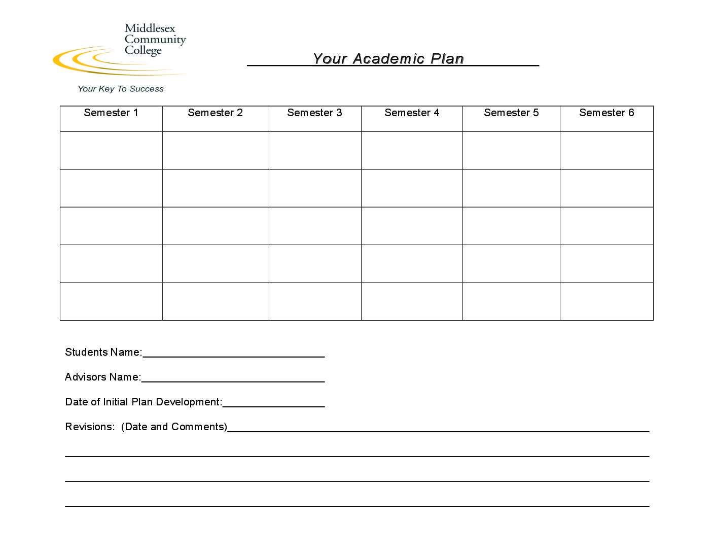 Academic Plan Worksheet