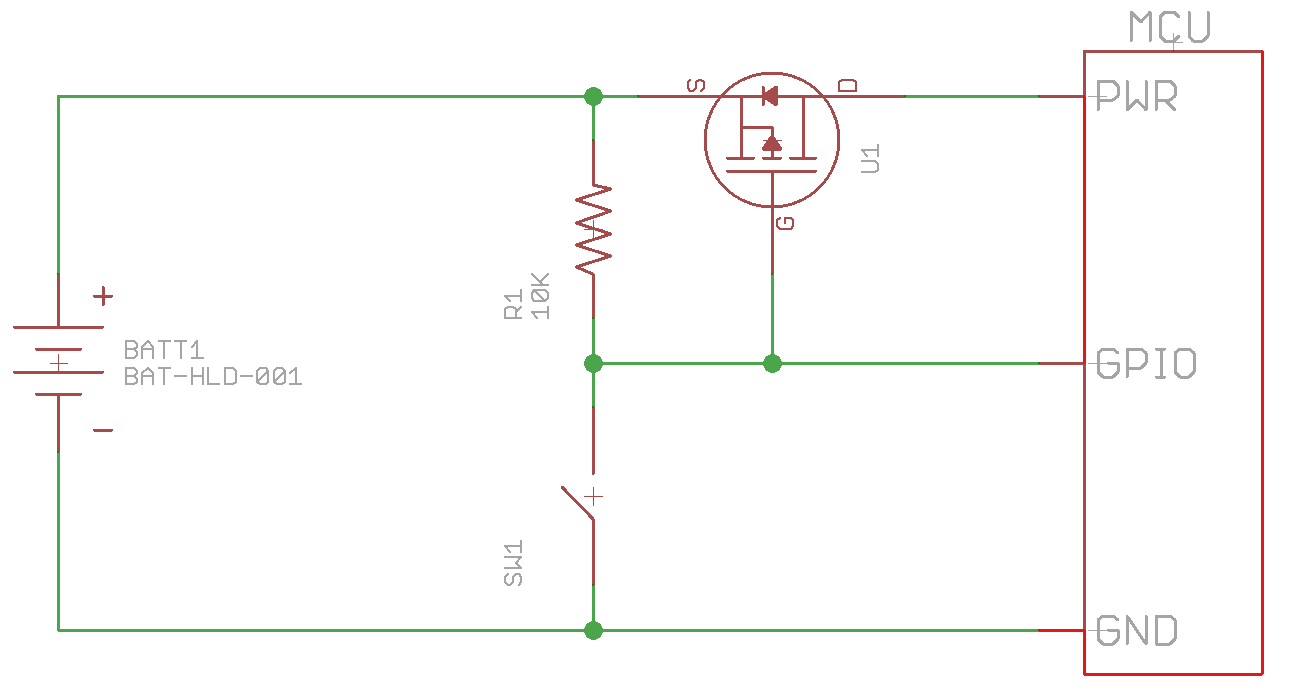 hight resolution of the downside to this circuit is that the user can not turn off the mcu with sw1 and it uses a gpio pin from the mcu