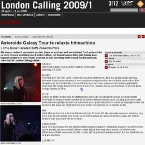 Omtale af The Asteroids Galaxy Tour på det hollandske web-site 3voor12.