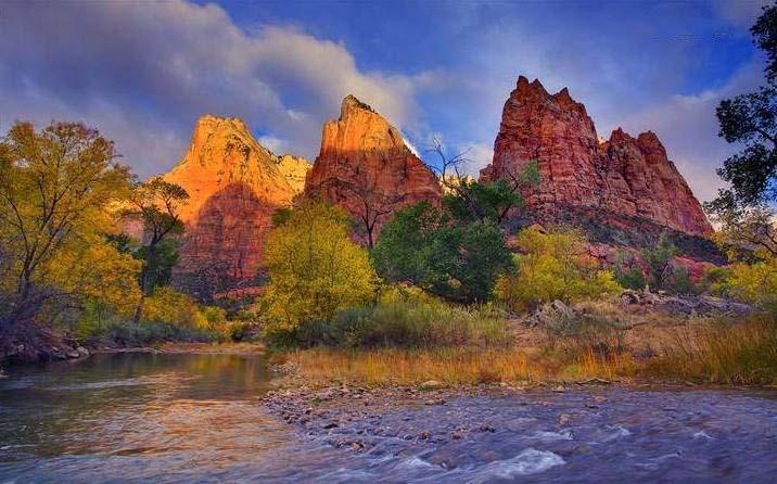 Fall 1080p Wallpaper 美国 锡安国家公园景彩 给面小站