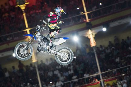 Tom Pages of France performs during the finals of the third stage of the Red Bull X-Fighters World Tour at the Plaza de Toros de Las Ventas in Madrid, Spain on July 11, 2015.