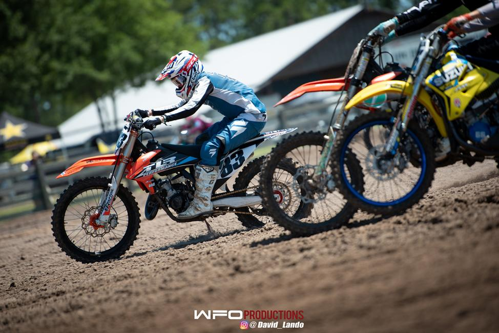 Ethan Lane bolts to the front at the start of the 125 B/C (2-Stroke Only) race.