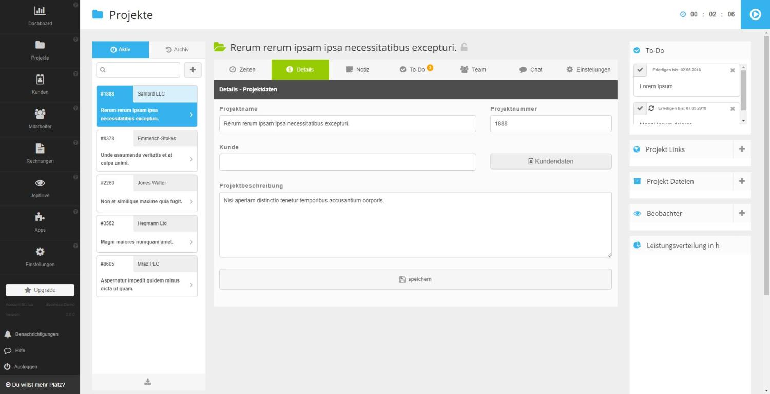 Jephi Projektmanagement Screenshot