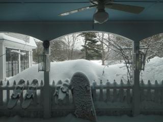 Snow in front a gazebo