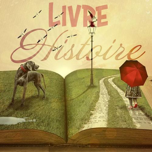 Un livre ouvert sur un champs d'herbe, un chien et une petite fille se promène dessus. Cela représente un un livre histoire dont le lecteur est le héro