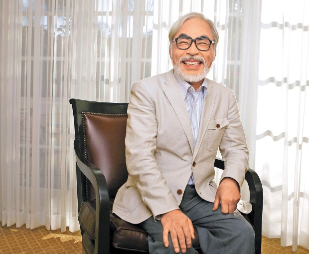 "Japanese director Miyazaki of the animated movie ""Ponyo"" smiles as he poses for a picture in Los Angeles"