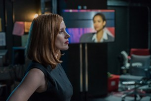 "M90 Jessica Chastain stars in EuropaCorp's ""Miss. Sloane"". Photo Credit: Kerry Hayes ?2016 EuropaCorp ?France 2 Cinema"